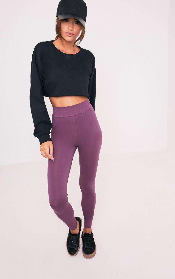 Basic legging aubergine taille haute en jersey 6