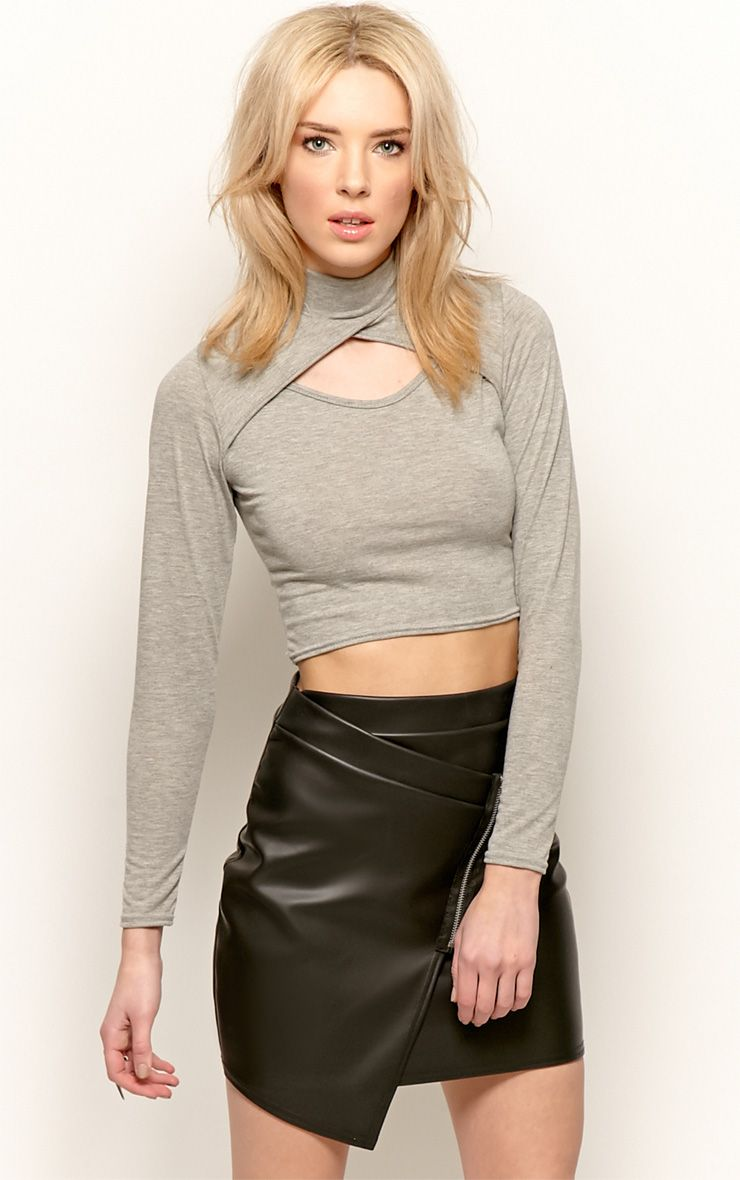Jenna Grey Roll Neck Cut Out Crop Top  1