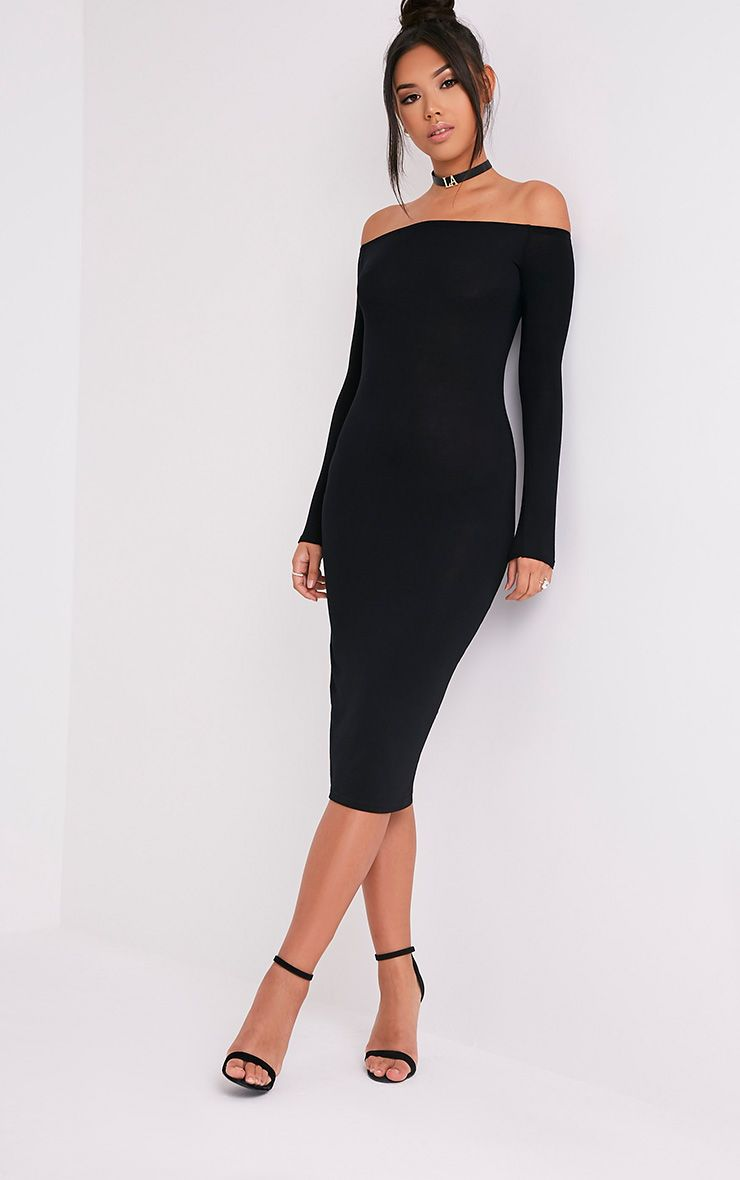 Basic Black Jersey Bardot Midi Dress