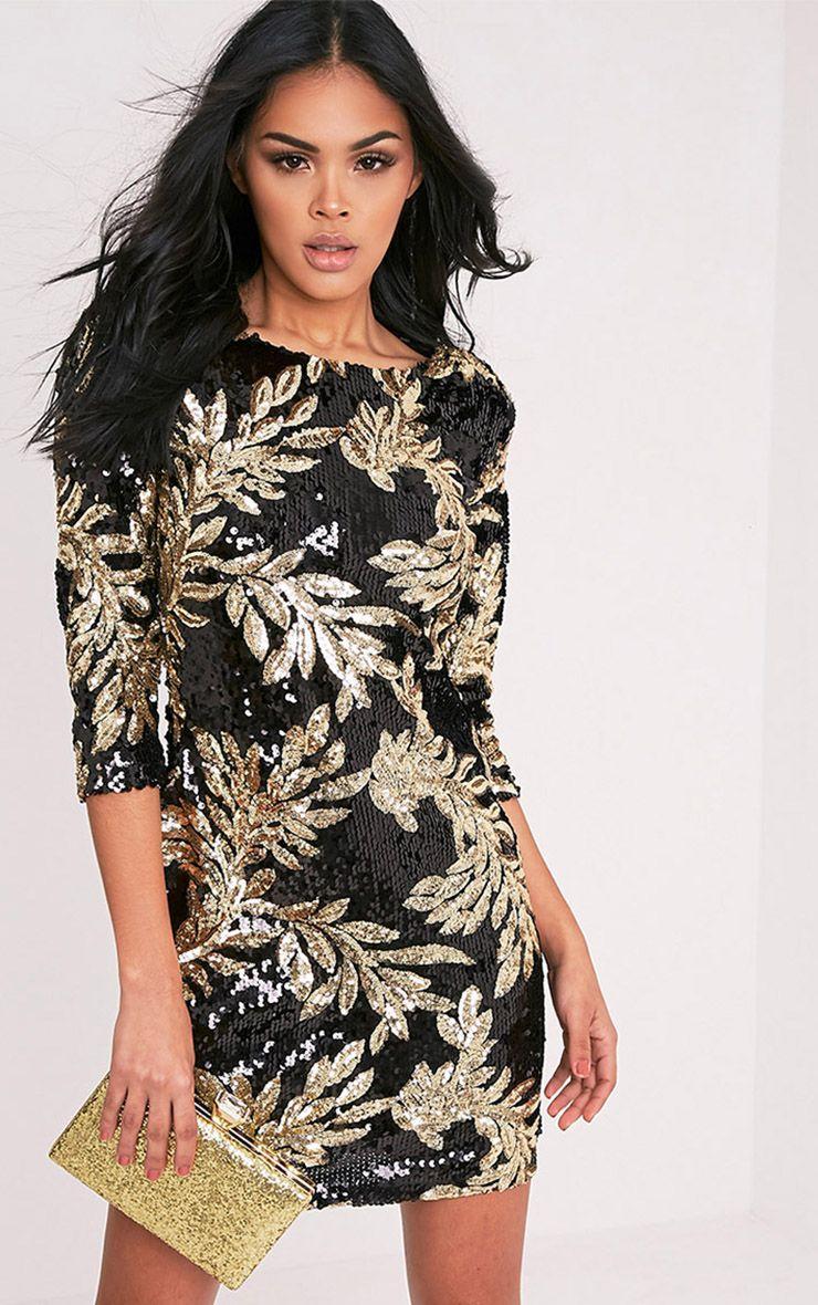 Naysie Black Sequin Bodycon Dress 1