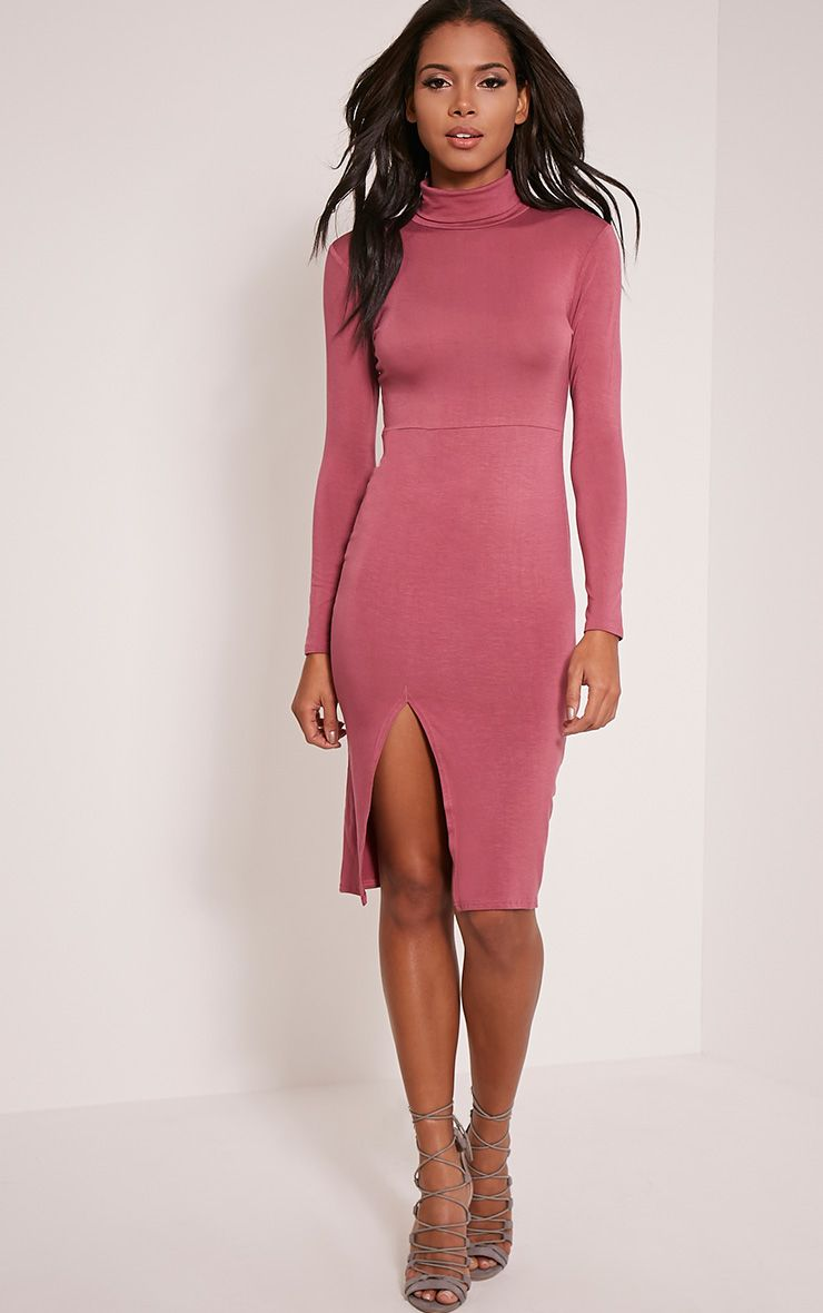 Sharia Rose Jersey Roll Neck Split Midi Dress 1