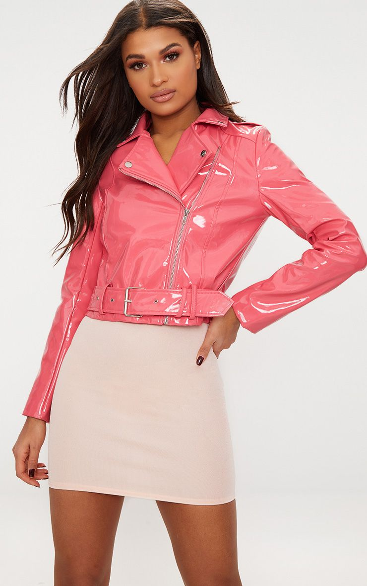 pink high shine vinyl biker jacket