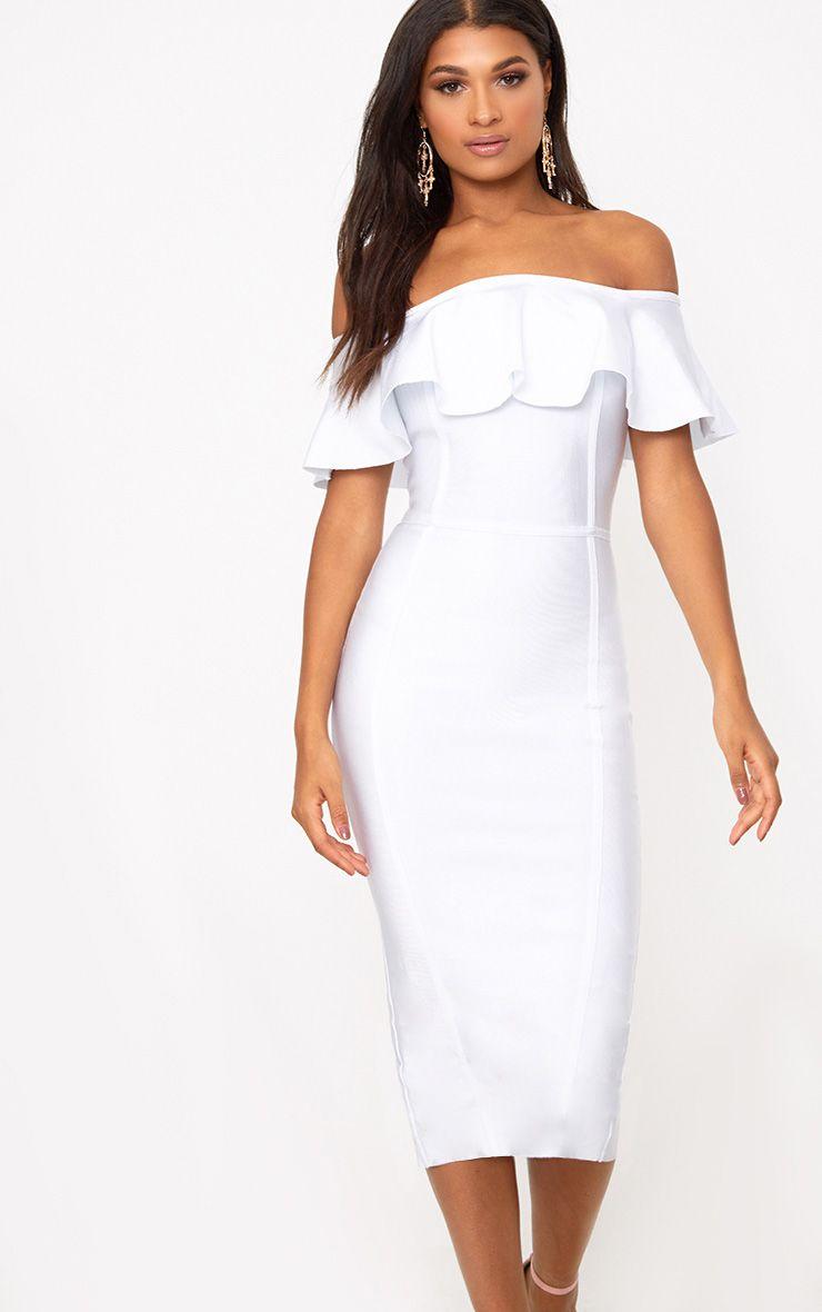 White Bandage Frill Bardot Midi Dress
