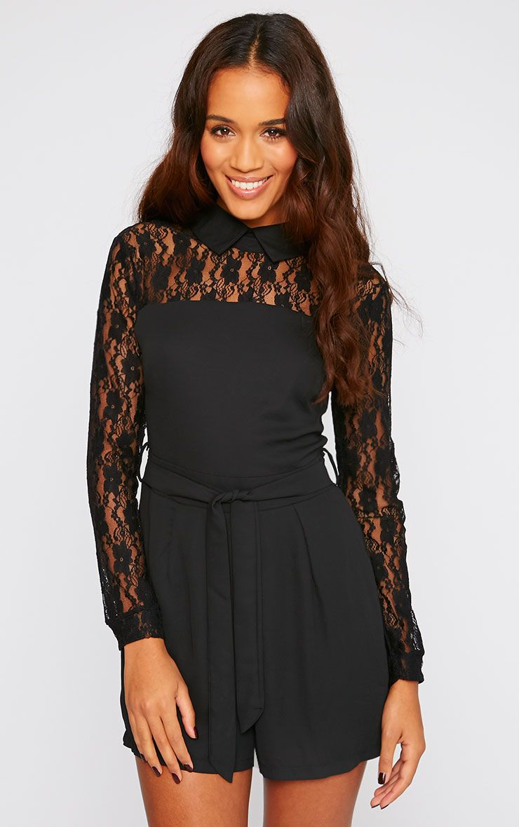 Nicky Black Lace Long Sleeve Collar Playsuit 1