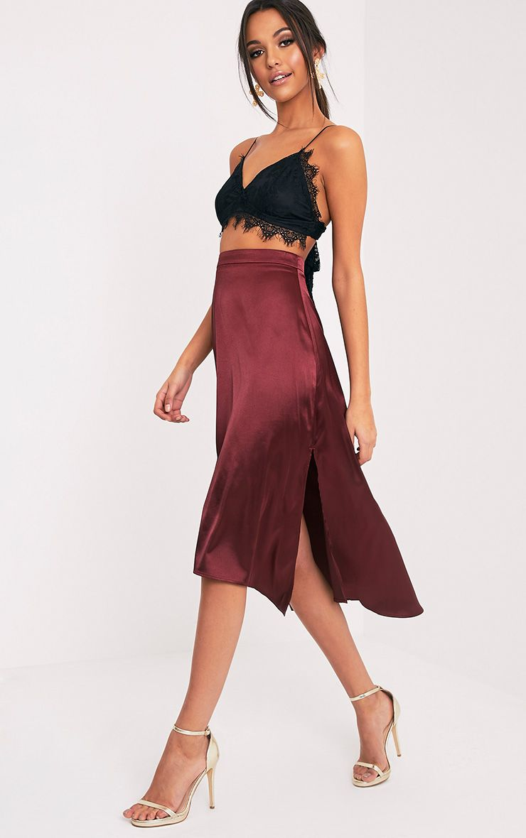 Ennia Burgundy Satin Side Split Floaty Midi Skirt