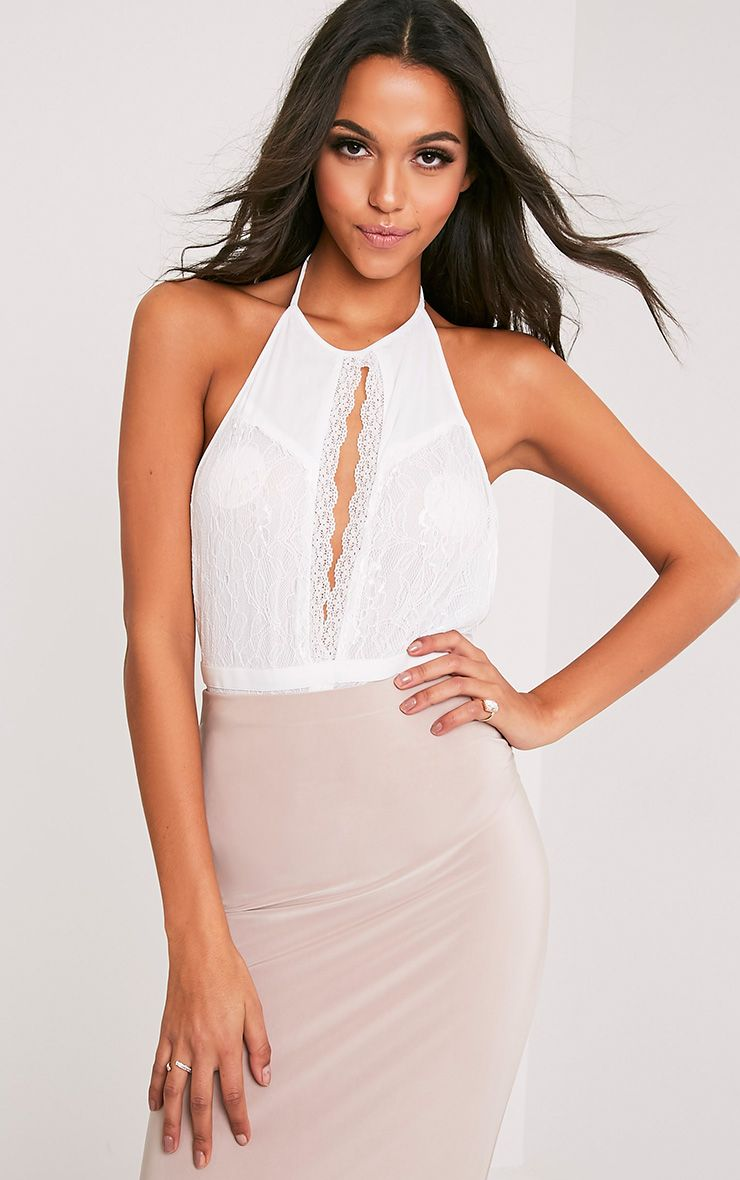 Alexandria White Halterneck Lace Thong Bodysuit