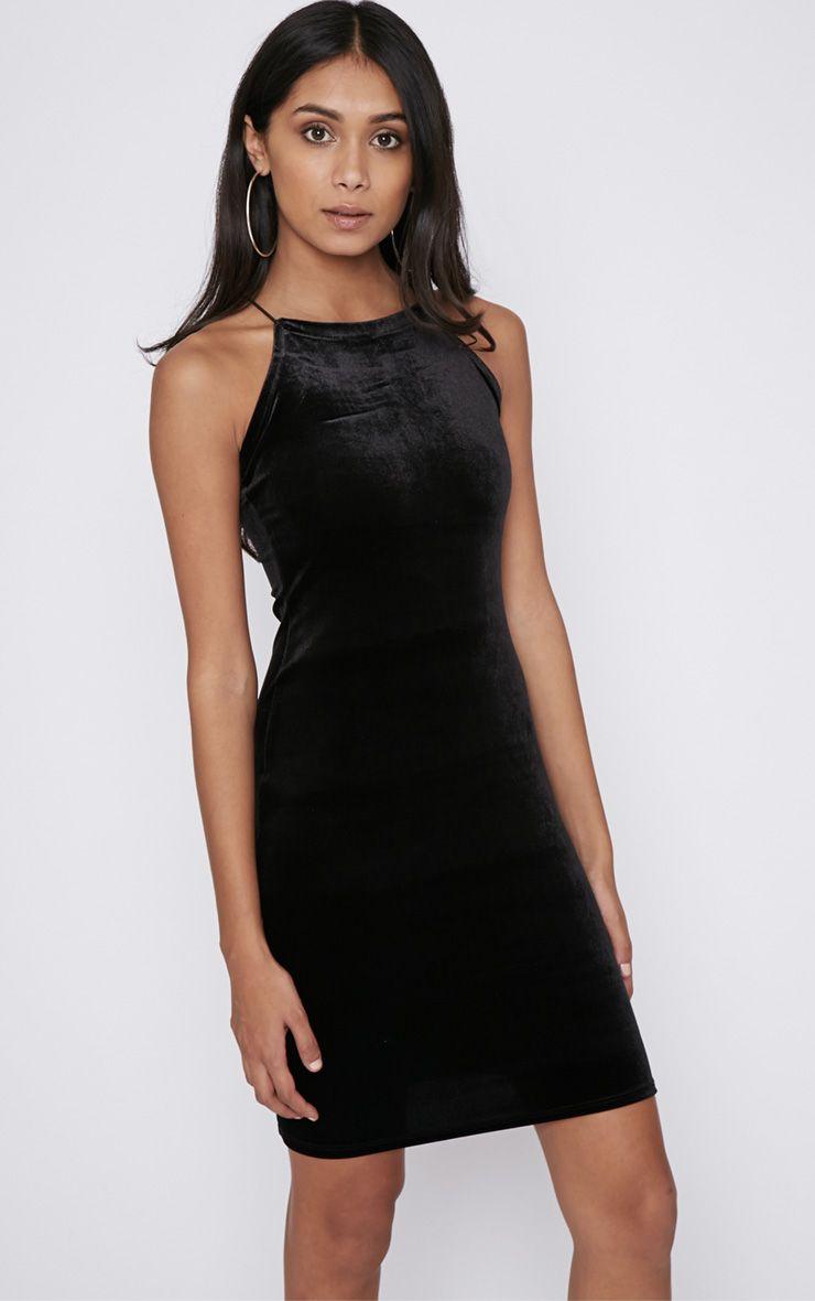 Elektra Black Velvet Mini Dress 1