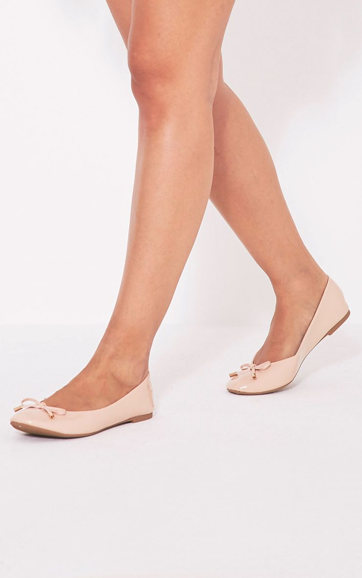 Tamika Nude Patent Ballet Pumps