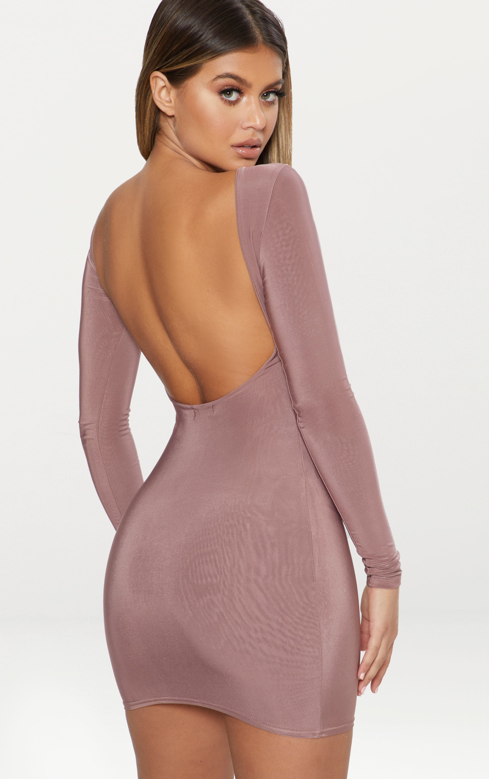 Dark Mauve Second Skin Double Layered Slinky Scoop Back Bodycon Dress