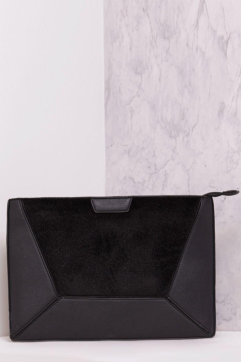 Rolanya Black Contrast Texture Oversize Clutch