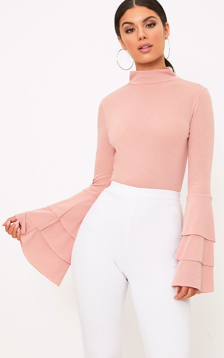 Pink Knit Ruffle Sleeve Jumper