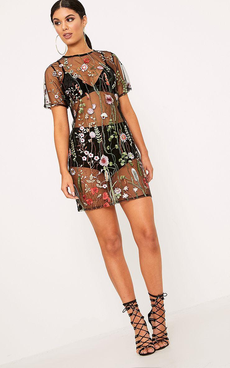 Black embroidered mesh t shirt dress dresses for Embroidered mesh t shirt