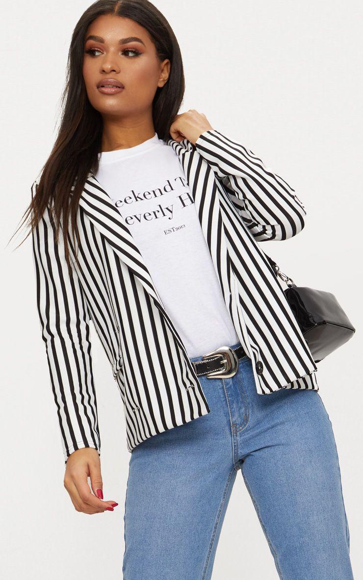 Black Monochrome Stripe Double Breasted Blazer