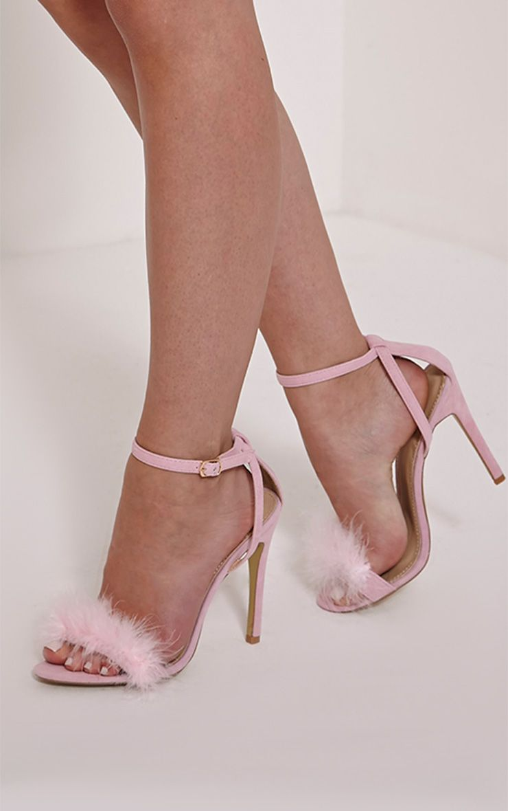 Gina Baby Pink Faux Suede Fluffy Heels 1