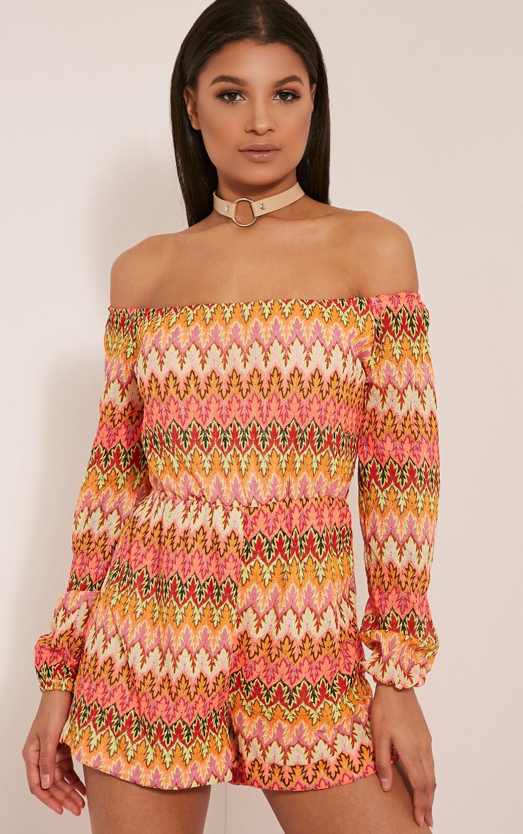 Kennie Orange Zig Zag Crochet Lace Bardot Playsuit