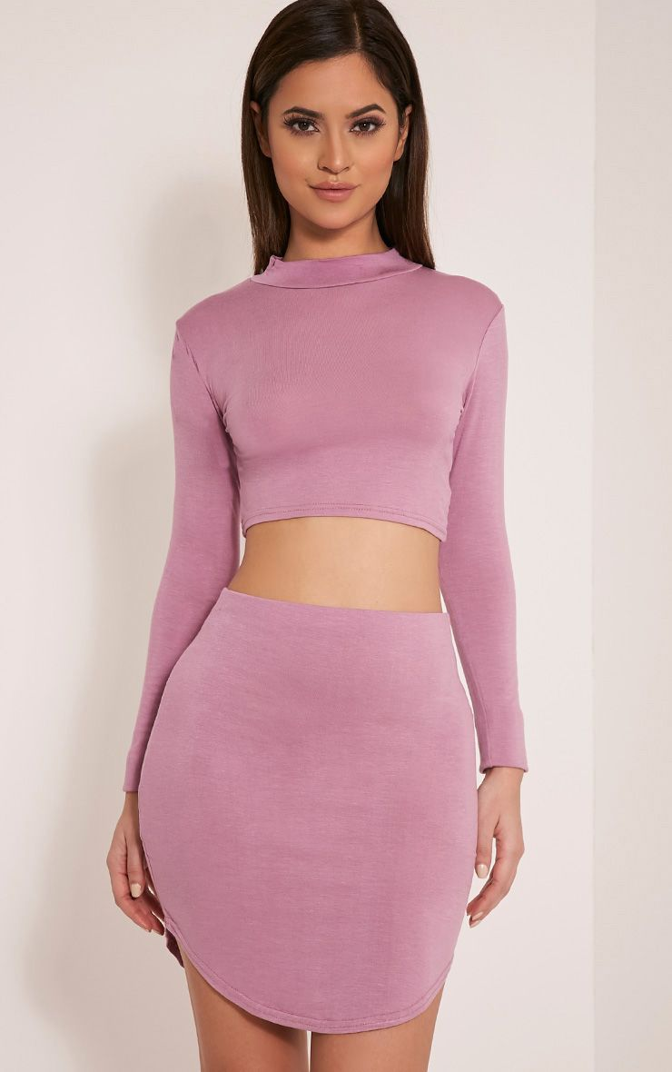 Ariana Mauve Long Sleeve Crop Top 1