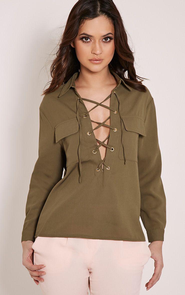 Yazmin Khaki Lace Up Pocket Shirt 1