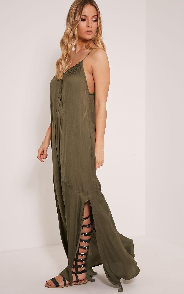 Lacee Khaki Silky Lace Up Maxi Dress 1