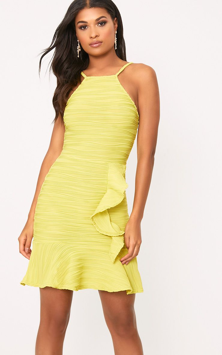 Lime Pleated Ruffle Detail Bodycon Dress