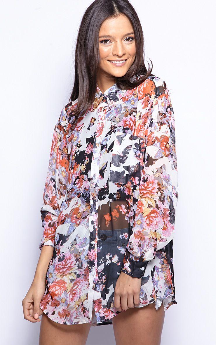 Lucinda Black Floral Print Shirt Dress 1
