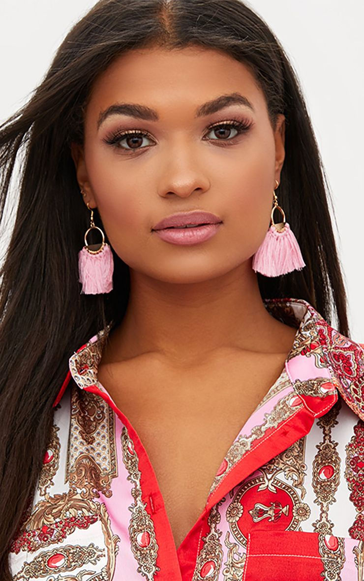 Pink Drop Fan Tassel Earrings