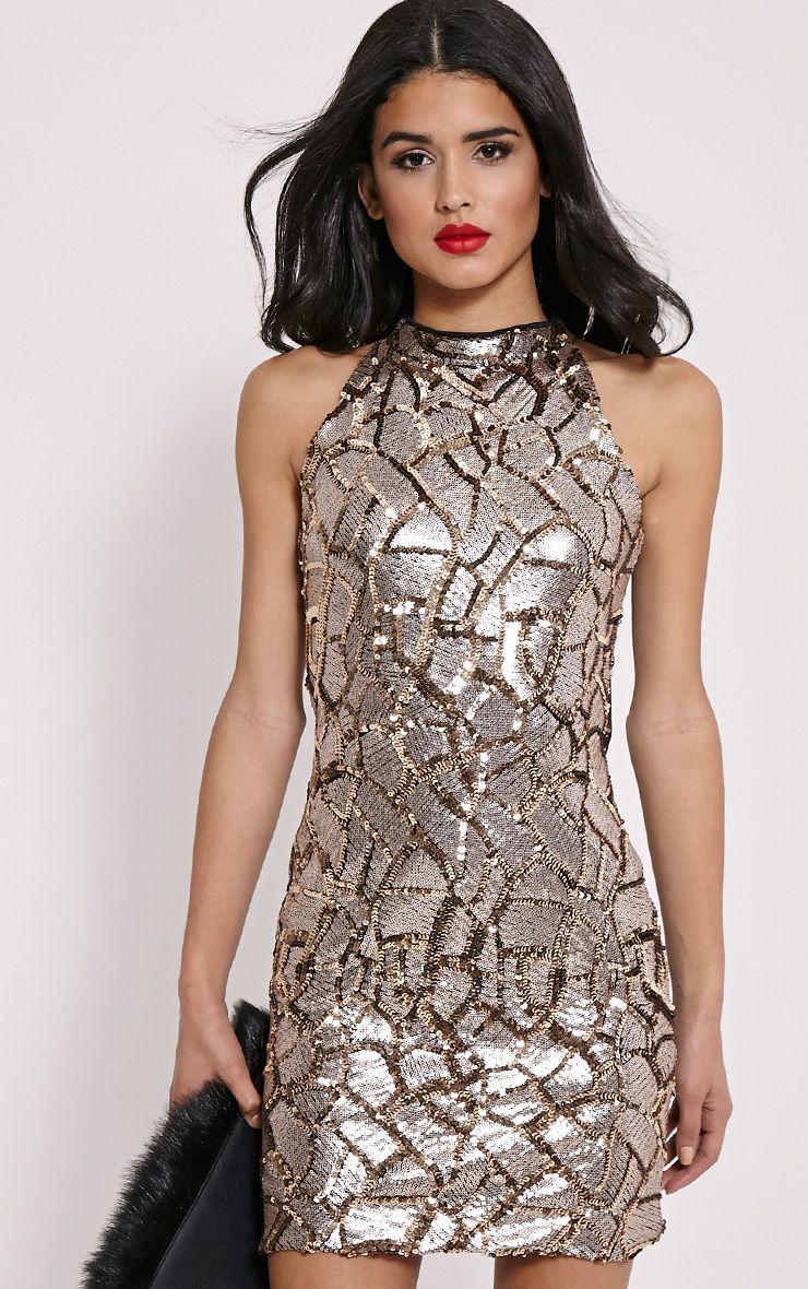 Kye Gold Sequin Mini Dress 1