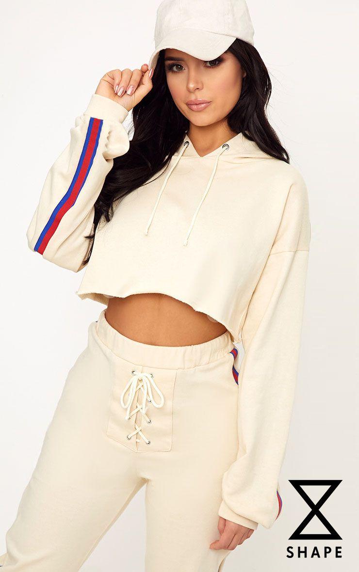 Shape Caila Cream Cropped Stripe Detail Hoodie