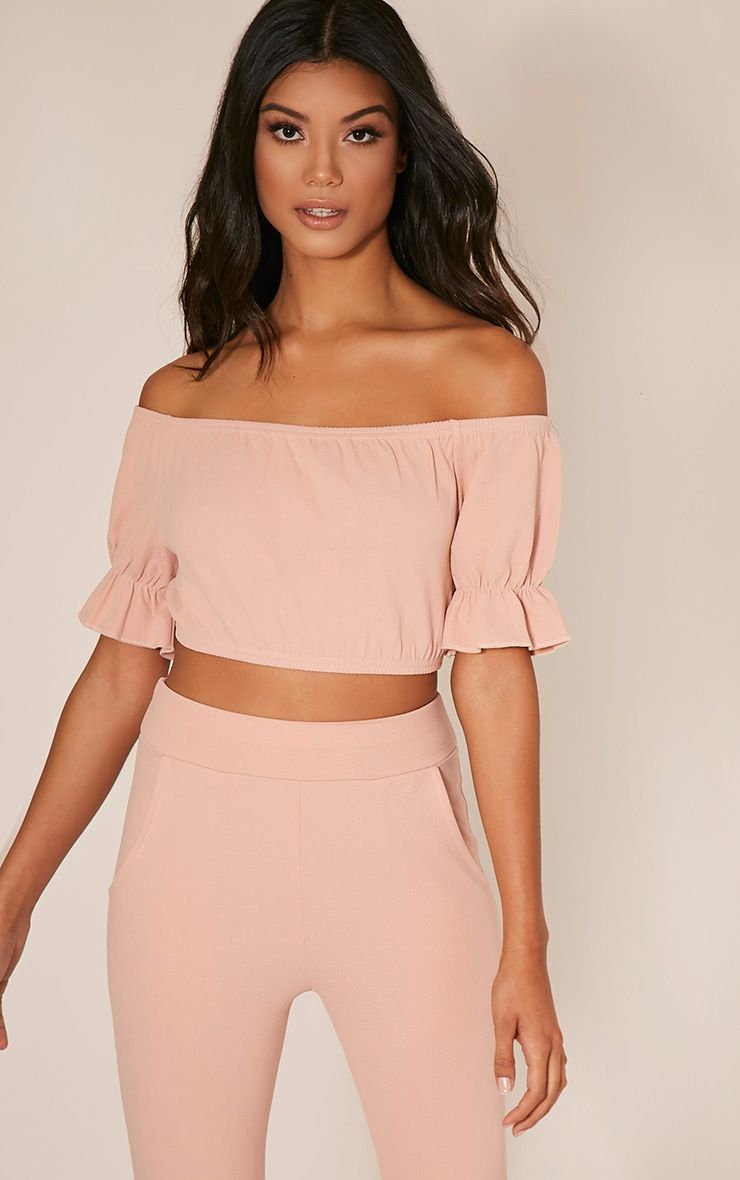 Farren Nude Bardot Crop Top 1