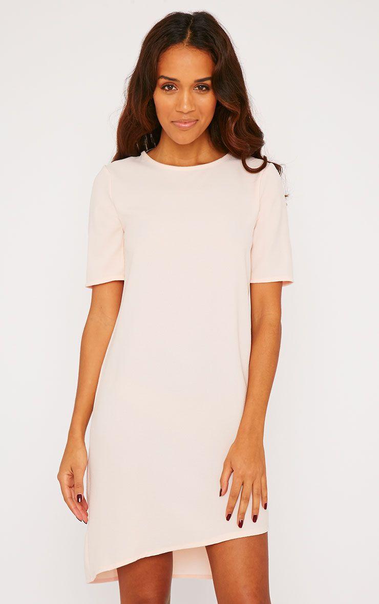 Chante Blush Crepe Loose Shift Fit Step Hem T-Shirt Dress 1