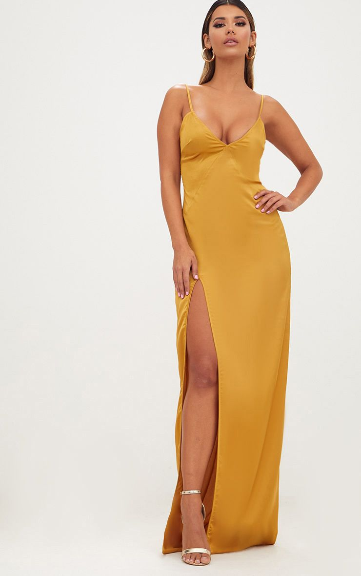 Product photo of Mustard satin strappy side split maxi dress yellow