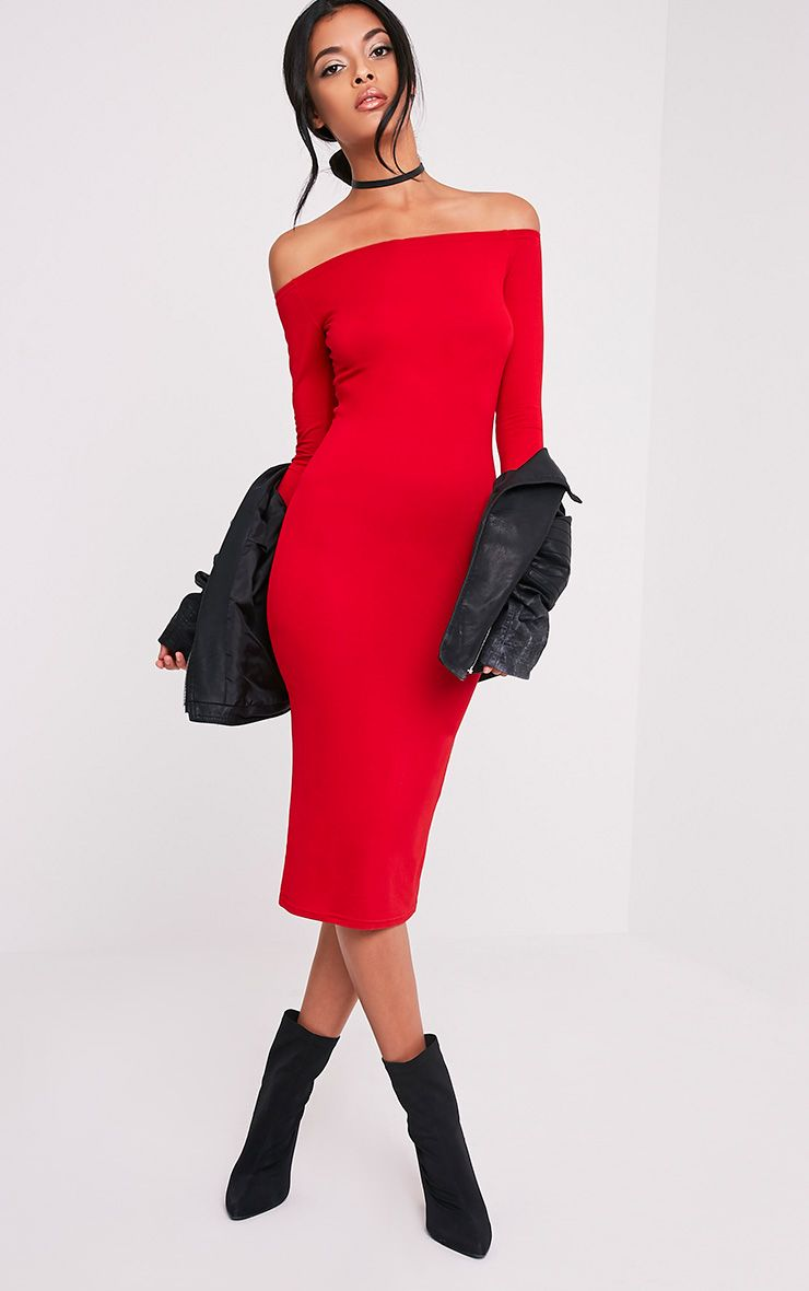 Basic Red Jersey Bardot  Midi Dress 1