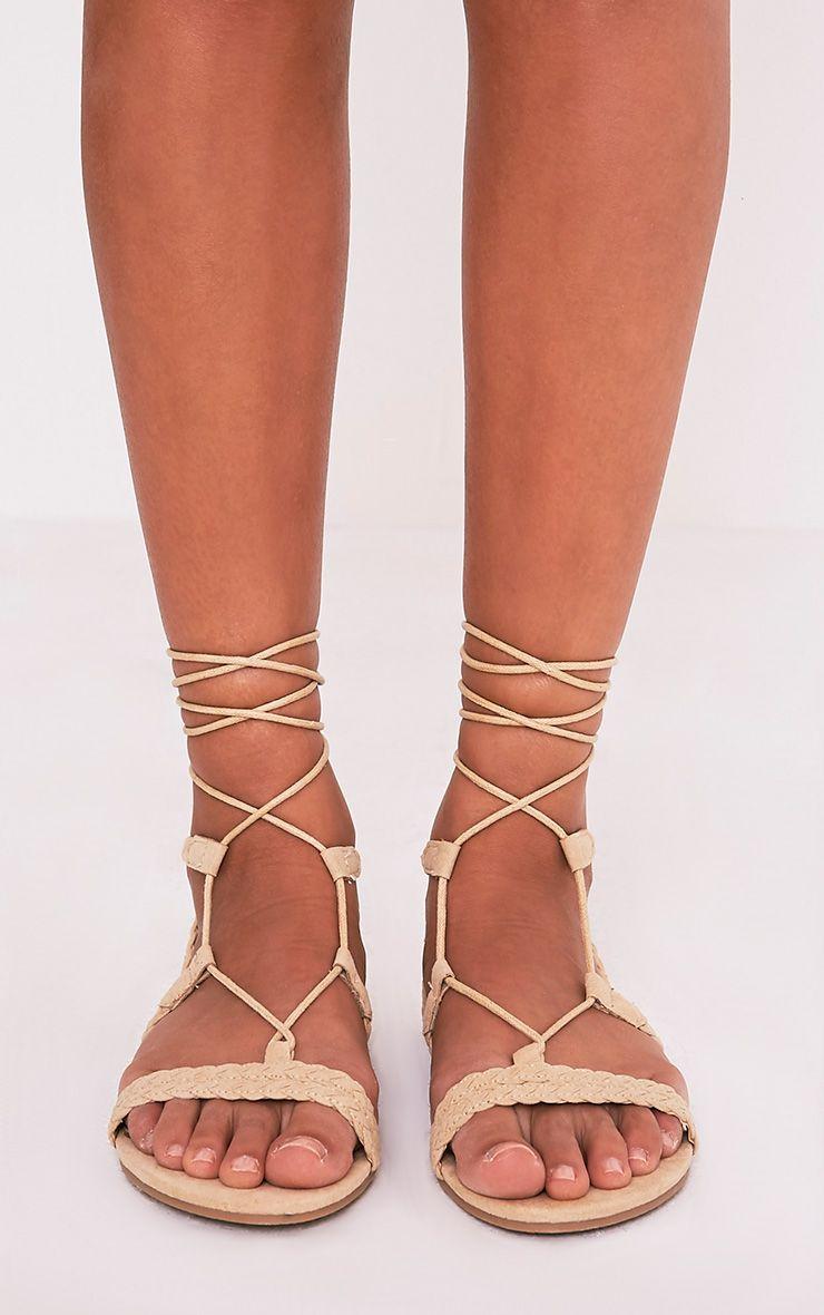 Catia Beige Lace Up Detail Sandals 3
