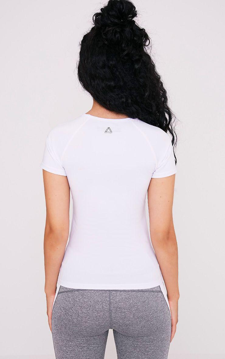 Tia White Short Sleeve Gym T-Shirt 2