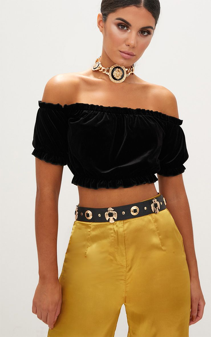 Black Velvet Bardot Crop Top
