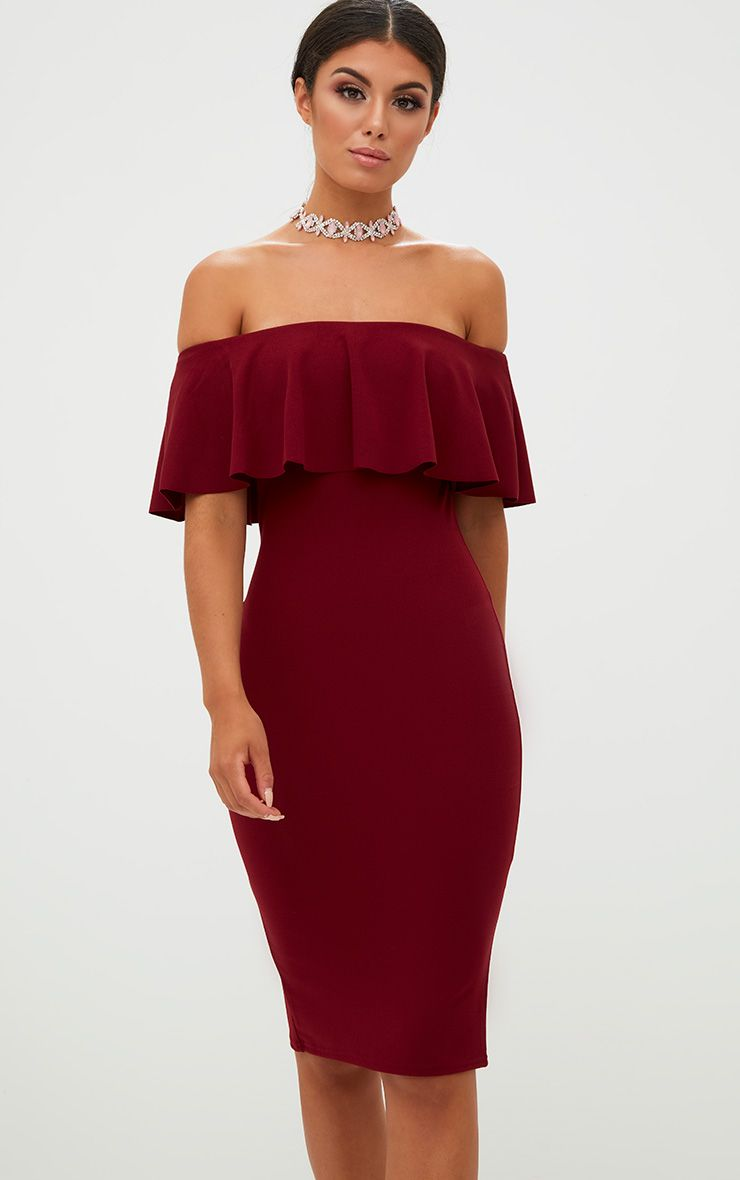 Burgundy Bardot Frill Midi Dress
