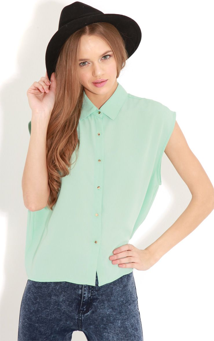 Effie Mint Chiffon Sleeveless Shirt -S/M 1