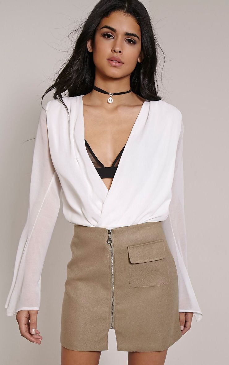 Victoria Stone Zip Front Mini Skirt 1