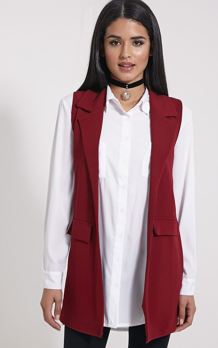 Riti Wine Sleeveless Blazer 1