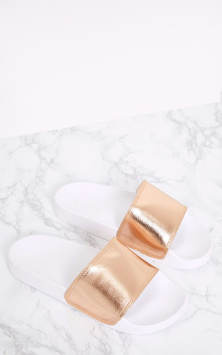 Jenetta Rose Gold Metallic Sliders