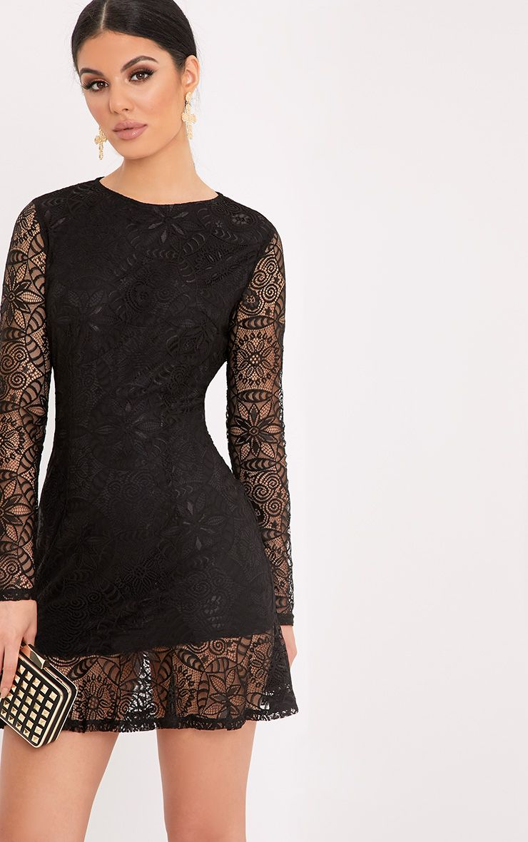 Viktoriah Black Lace Frill Hem Bodycon Dress