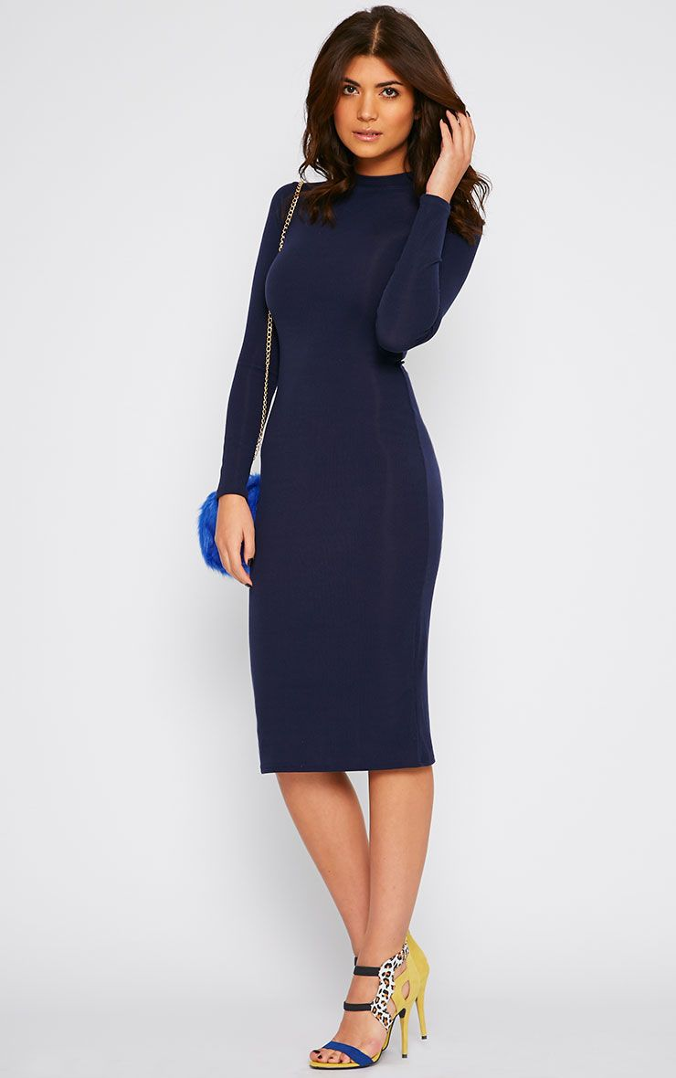 Basic Navy Ribbed Turtle Neck Midi Dress 1