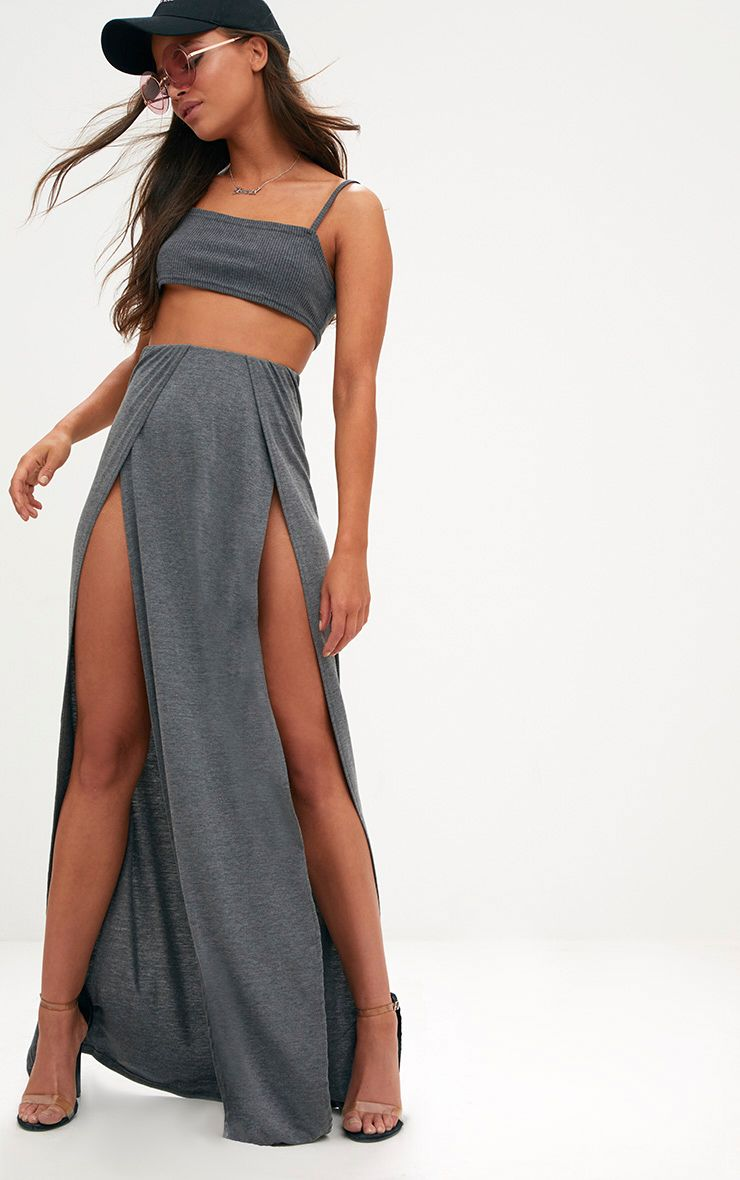Grey Double Split Maxi Skirt
