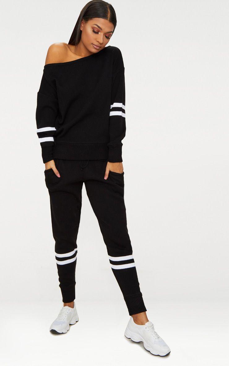 Black Stripe Detail Jogger Knitted Lounge Set
