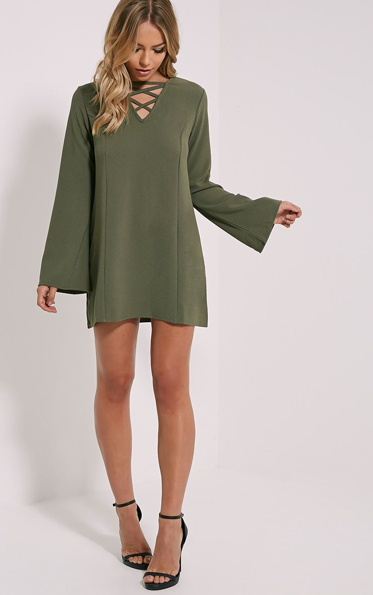 Liz Khaki Cross Front Crepe Loose Fit Swing Dress