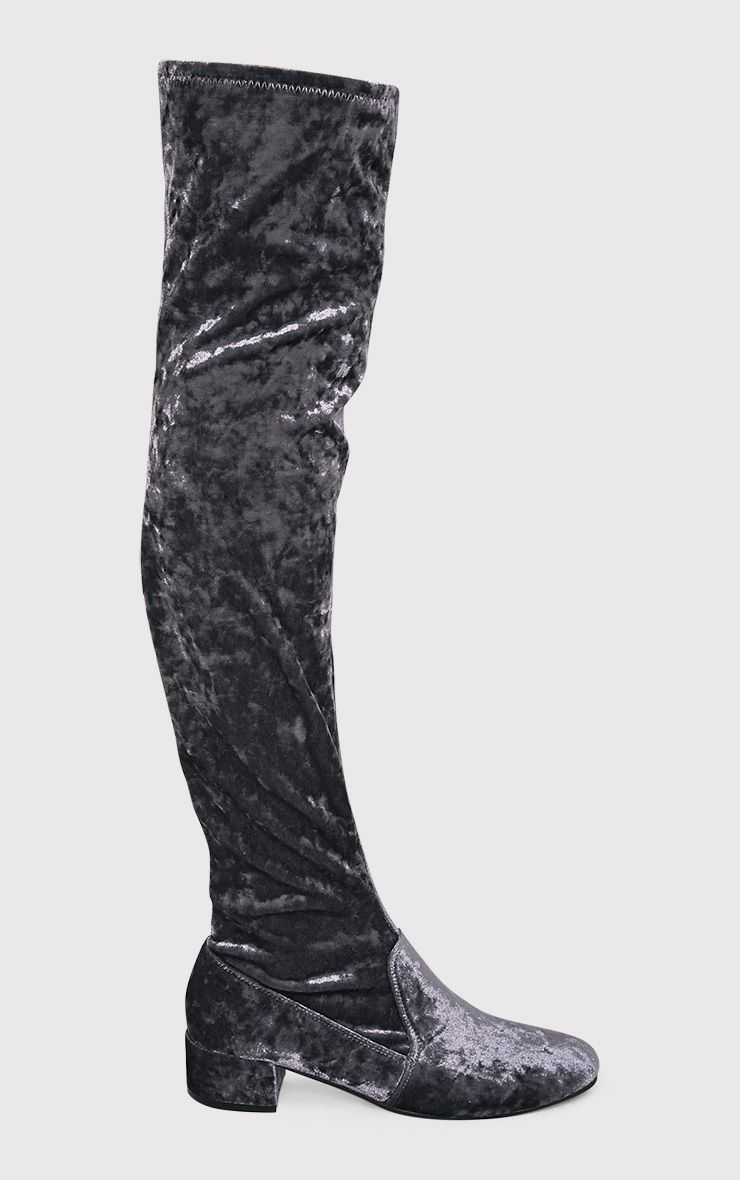 Esmay Grey Crushed Velvet Thigh High Boots 1