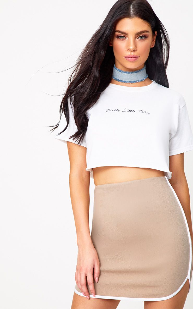 Taupe Contrast Binding Runner Mini Skirt