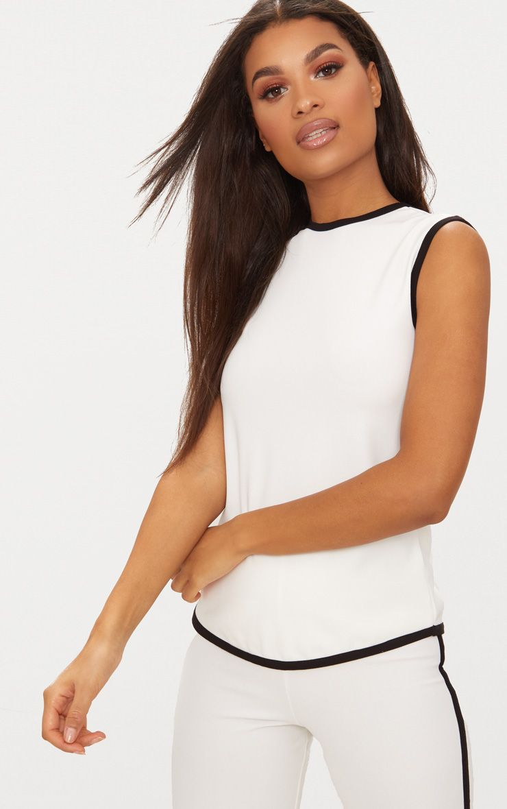 White Contrast Binding Tunic Top
