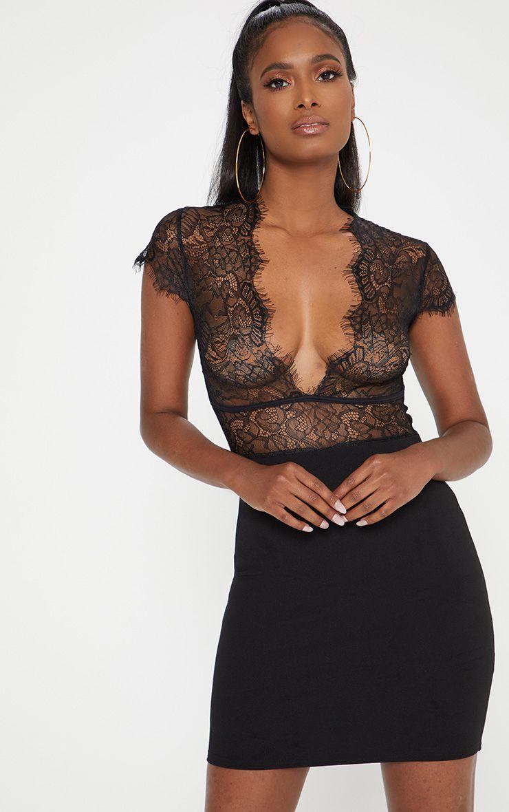 black lace top binding detail bodycon dress