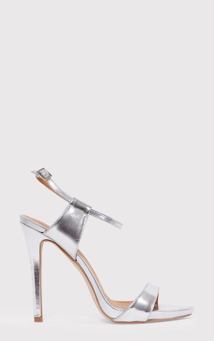 Lolah Silver Metallic Strappy Stilleto Sandals