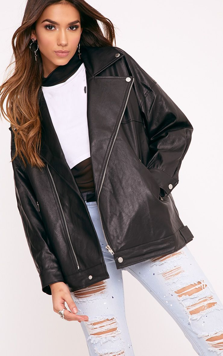 Lakeisha Black Oversized PU Biker Jacket